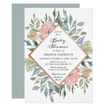 Rustic Chic Dusty Pink Blue Floral Baby Shower Invitation