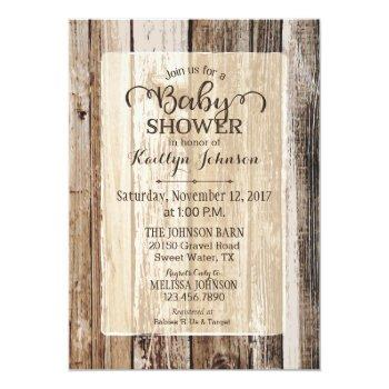Rustic Country Barn Wood Baby Shower Invitation