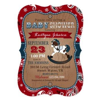 Rustic Cowboy Western Rocking Horse Baby Shower Invitation