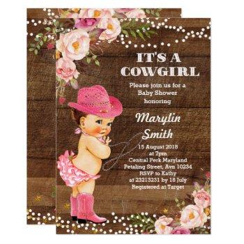 Rustic Cowgirl Baby Shower Card
