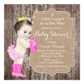 Rustic Cowgirl Princess Baby Shower Invitation