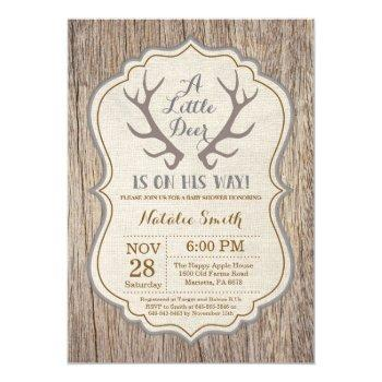 Rustic Deer Antler Baby Shower Invitation