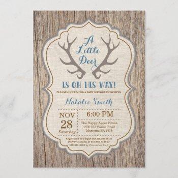 Rustic Deer Antler Blue Boy Baby Shower Invitation
