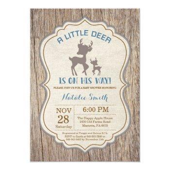 Rustic Deer Baby Shower Invitation Boy