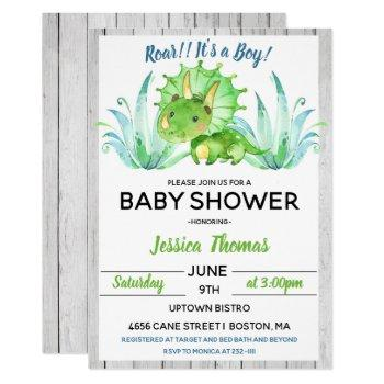 Rustic Dinosaur Boy Baby Shower Invitation