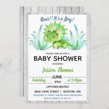 Rustic Dinosaur Boy Baby Shower Invitation
