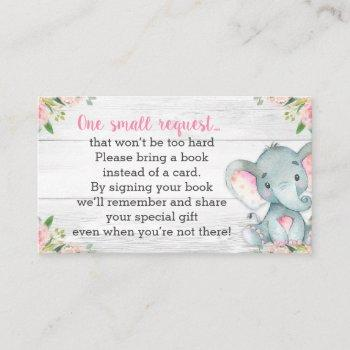 Rustic Elephant Baby Shower Book Request Card