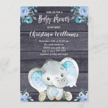 Rustic Elephant Blue Floral Boy Baby Shower Invitation