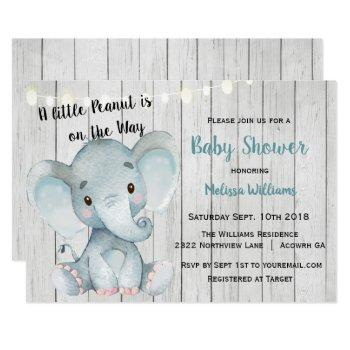 Rustic Elephant Boy Baby Shower Invitation