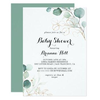 Rustic Eucalyptus Gold Floral Baby Shower Invitation