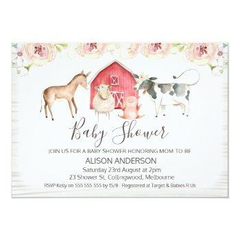 Rustic Farm Themed Baby Shower Invitation