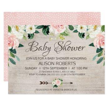 Rustic Floral Boho Baby Shower Invitation