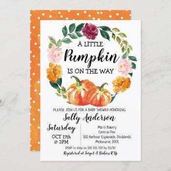 Rustic Floral Wreath Little Pumpkin Baby Shower