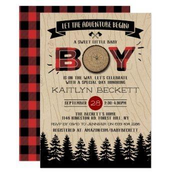 Rustic Forest Plaid Lumberjack Boys Baby Shower Invitation