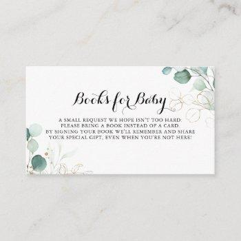 Rustic Gold Floral Baby Shower Book Request Enclosure Card