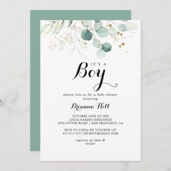 Rustic Gold Floral It's A Boy Baby Shower