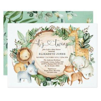 Rustic Greenery Jungle  Safari Twins Baby Shower Invitation