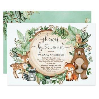 Rustic Greenery Woodland Animals Shower By Mail Invitation