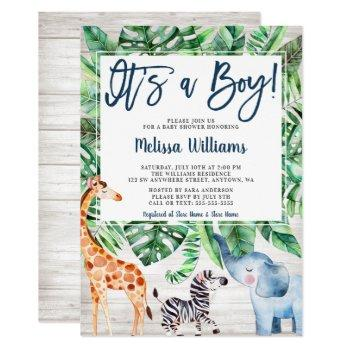Rustic Jungle Safari Animals Boy Baby Shower Invitation