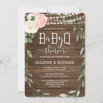 Rustic Lights Pink Greenery Girl Bbq Baby Shower Invitation