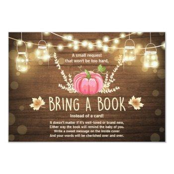 Rustic Little Pumpkin Baby Shower Bring A Book Invitation