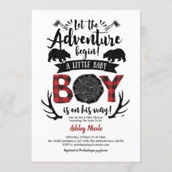 Rustic Lumberjack Buffalo Plaid Baby Boy Shower Invitation