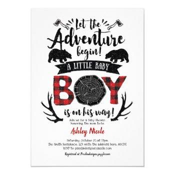 Rustic Lumberjack Buffalo Plaid Baby Boy Shower Invitation