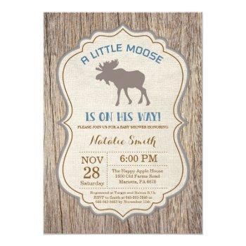 Rustic Moose Baby Shower Invitation Boy