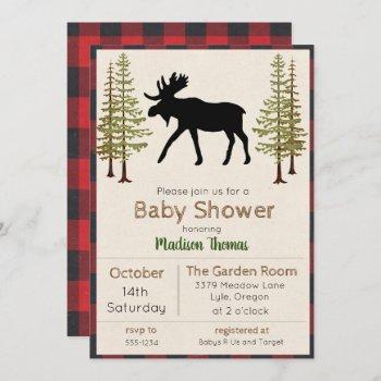Rustic Moose Boy Baby Shower Invitation