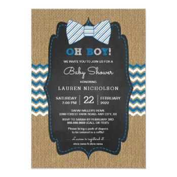 Rustic Oh Boy Bow Tie Baby Shower Invite