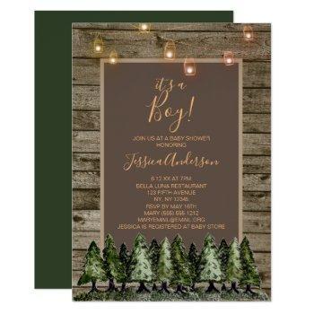 Rustic Pine Mason Jar String Light Baby Shower Invitation