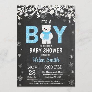 Rustic Polar Bear Winter Boy Baby Shower Invitation