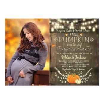 Rustic Pumpkin Fall Baby Shower Invitation Photo