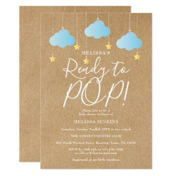 Rustic Ready To Pop Twinkle Twinkle Baby Shower Invitation