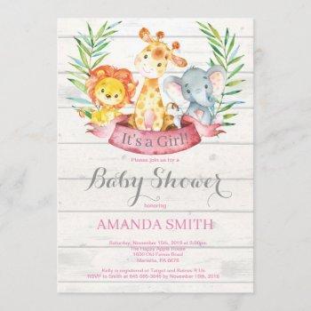 Rustic Safari Jungle Animals Girl Baby Shower Invitation