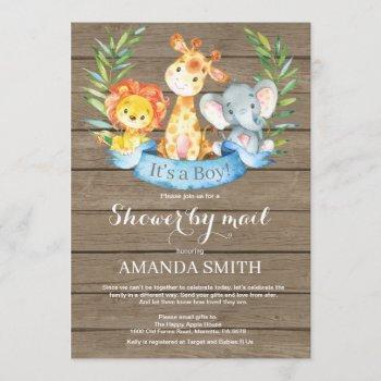 Rustic Safari Jungle Boy Baby Shower By Mail Invitation