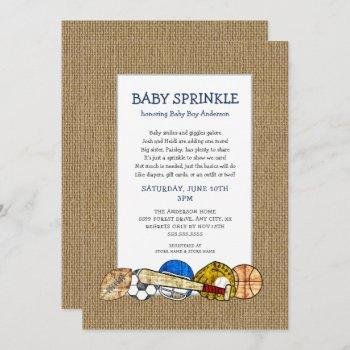 Rustic Sports Boy Baby Sprinkle With Cute Poem Invitation