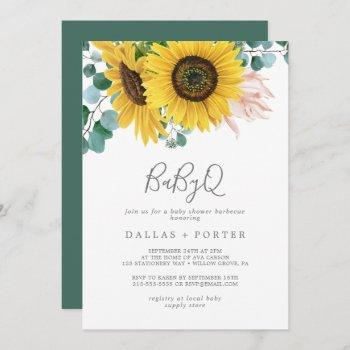 Rustic Sunflower Babyq Baby Shower Barbecue Invitation