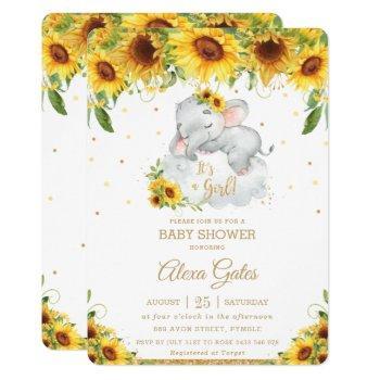Rustic Sunflower Cute Elephant Baby Shower Girl Invitation