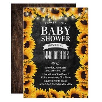 Rustic Sunflower Floral Chalkboard Baby Shower Invitation