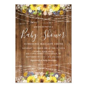 Rustic Sunflower String Lights Baby Shower Invitation
