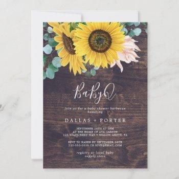 Rustic Sunflower   Wood Babyq Baby Shower Barbecue Invitation