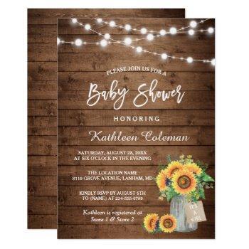 Rustic Sunflowers Mason Jar Lights Baby Shower Invitation