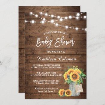 Rustic Sunflowers Mason Jar Lights Baby Shower