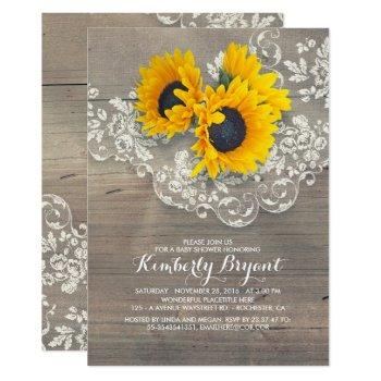 Rustic Sunflowers Wood Lace Baby Shower Invitation