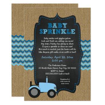 Rustic Tractor Boy Baby Sprinkle Invitations