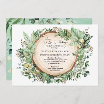 Rustic Watercolor Greenery Forest Boy Baby Shower