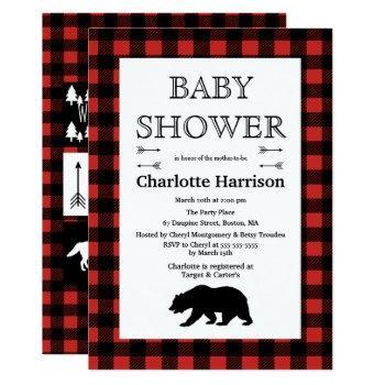 Rustic Wilderness & Animals Plaid Baby Shower Invitation