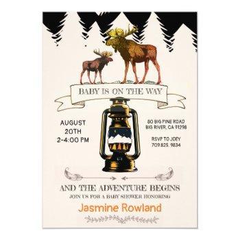 Rustic Wilderness Moose Baby Boy Shower Invitation