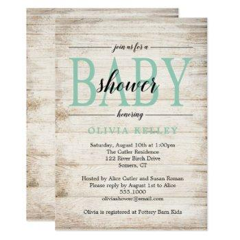 Rustic Wood Baby Shower Invitation, Mint Green Invitation